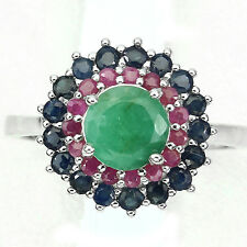 DELUXE ROUND 7mm .GREEN EMERALD,SAPPHIRE,RUBY STERLING 925 SILVER FLOWER RING 9