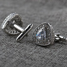 Silver Plated Mens Crystal Wedding Party Gift Shirt Cuff Links Cufflinks New