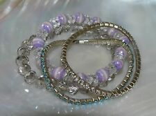 Gently Used Lot of 4 Clear Lavender Plastic Bead Blue Rhinestone Stretch Brace