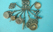 Antique Silver Hunt Chatelaine Fob Charivari Russian Medal Military c1860 German