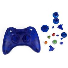 BLUE Custom Crystal Clear Wireless Controller Case Shell per XBOX 360 Pad