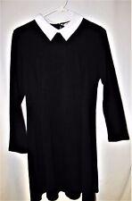 NEW  Wednesday Addams Dress w/flare skirt, LS w/white collar,   Size L