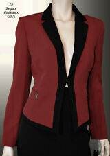 TAHARI Women SIZE 16 BLACK OFF-RED Two-Piece 2PC Skirt Suit Knee Dressy NWT$280