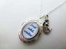 H20 JUST ADD WATER QUOTE SILVER LOCKET & MERMAID CHARM NECKLACE PENDANT 18""
