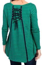 NEW - OSO Casuals Knit Long Sleeved Lace-up Back Striped Top - Sz. M