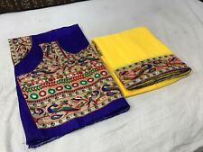 New Designer Yellow Georgette Peackok print Beutiful Border Saree Printed Blouse