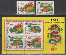 Philippine Stamps 2012 Year of the Dragon set & Souvenir sheet MNH Complete