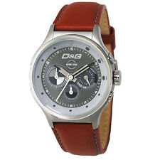 Dolce & Gabbana D&G DW0210 Codename Mens Brown Leather Strap Watch RRP £199