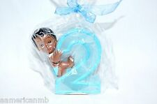 Ethnic African Baby Boy 2nd Second Birthday Candle Number Two 2 Cake Topper Blue