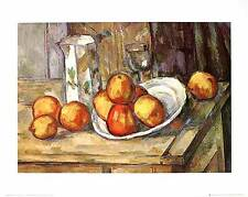 Paul Cezanne Kettle glass and plate with fruit Poster Kunstdruck Bild 40x50cm