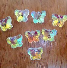 8 Corte de cristal vidrio bolas de Forma de Mariposa-claro AB - 14mm