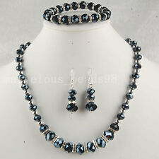 Black Crystal Faceted Beads Necklace Bracelet Earrings SET G4871