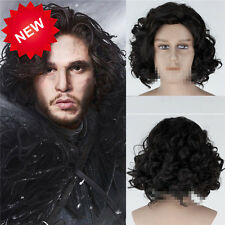 Hot Anime Game of Thrones Jon Snow Short Black Curly Cosplay Daily Hair Full Wig