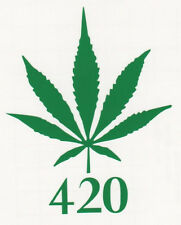 "MARIJUANA LEAF ""420"" POT CANNIBUS WEED Car/Truck/Window/Wall Vinyl Decal Sticker"