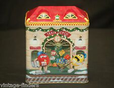 Vintage M&M's Train Depot Advertising Ad Metal Litho Tin Can Storage Container
