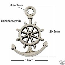 10 x Tibetan Silver Anchor Wheel Charms Pendant Sea