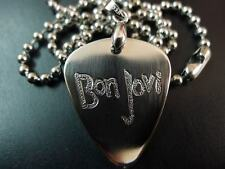 Bon Jovi Hand carving Stainless Steel Guitar Pick Necklace