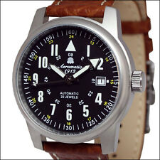Aeromatic 1912 Automatic Aviator Watch with Brown Leather Strap #A1027Brown