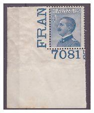 REGNO 1917  -  MICHETTI    CENT.  25    NUOVO  **  NUMERO DI TAVOLA