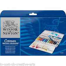 WINSOR & NEWTON 12 COTMAN ARTIST WATER COLOUR PAINT TUBES PAINTING PLUS BOX SET