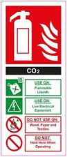 [ 200x85mm ] FIRE EXTINGUISHER - CO2 - STICKER/SIGN - Health and Safety