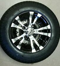 """GOLF CART 10"""" MACHINED/BLACK VAMPIRE WHEELS/RIMS and 205/50-10 LOW PROFILE TIRES"""