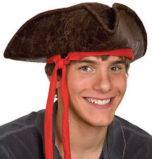Brown Caribbean Pirate Hat with Attached Red Band Unisex Pirate Adult Size