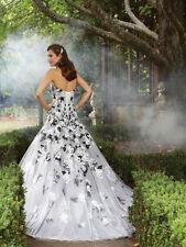 Schwarz Spitze A-Linie Ballkleid Hochzeitskleid Brautkleider Gr:34/36/38/40/42++