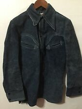 VTG SCHOTT SUEDE LEATHER SHIRT JACKET MENS SZ 36 THICK LEATHER LIGHT NAVY BLUE