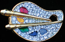 MULTI COLOR RHINESTONE ARTIST PAINT BRUSH ART PALLET ARTSY FUN PIN BROOCH 1 3/4""