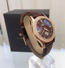 Rotary Ladies Rose Gold Brown Strap Watch RRP £169 Boxed Genuine Used UK Seller