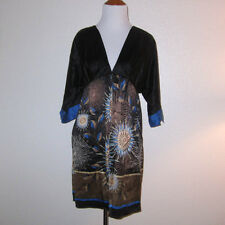 Laundry by Design Black Silk Blue Brown Gold Floral Print Kimono Dress Size S