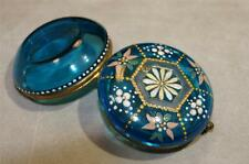 Antique French Enamel on Colored Glass Pill Box Moser Style 1890s