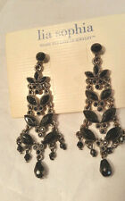 Gorgeous Lia Sophia Black Cut Crystal and Bead Dangle Chandelier Earrings