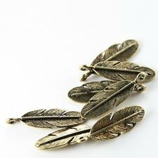 20pcs Antique Brass Tone Base Metal Charms-Feather 30x10mm (87Y-H-153B)