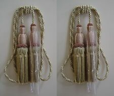 2 Upholstery Double Tassel Tieback Sage Green, Silver and Putty
