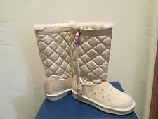 SKECHERS TWINKLE TOES NATURAL/GOLD LIGHTUP GLAM SLAM BOOTS GIRLS SHOES SZ 2 NEW