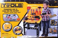 Deluxe 73 pièces large work bench tool set pretend play set with electronic perceuse