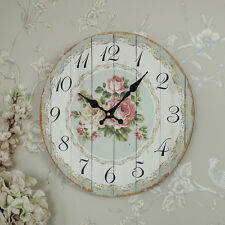 Wooden country cottage style rose wall clock shabby country chic kitchen hallway