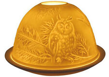 Light-Glow Owls Bird Tealight Candle Holder Tea Light Votive Dome Ceramic Boxed