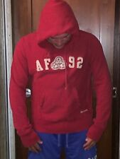 Vintage Abercrombie & Fitch Mens Pull Over Red Hooded Sweater Hoodie Size Large