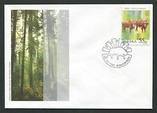 POLEN FDC FAUNA BISON BISONS WISENT WISENTE BUFALLO COVER POSTMARK d5997