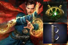Dr Doctor Strange EYE of AGAMOTTO Amulet 7CM Pendant Necklace FLY SLING Ring Set