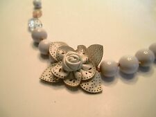Leather Rose Necklace Plastic Beads/Crystals Ribbon Tie