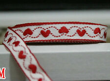 Wholesale Lot  20yds   red heart embroidered cotton lace trim  DIY sewing  1cm