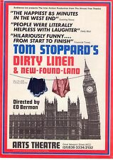 Original A5 Flyer for Tom Stoppards 'Dirty Linen' at Arts Theatre, 1978