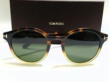 Authentic TOM FORD LUCHO FT0400 58N Havana/Green Unisex 49mm Round Sunglasses