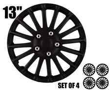 """13"""" inch Premium Hubcaps CAR+ """"Monza"""" Black ABS Easy to install Set of 4 pieces"""