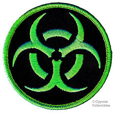 BIOHAZARD SYMBOL iron-on BIKER PATCH EMBLEM GREEN ZOMBIE EMBROIDERED APPLIQUE