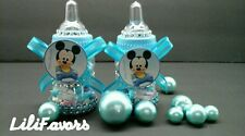 12 Fillable Baby Boy Shower Bottles Favors Mickey Mouse Blue Party